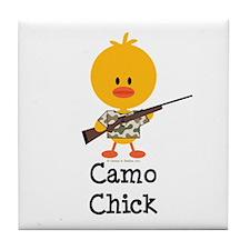 Rifle Camo Chick Hunting Tile Coaster