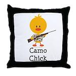 Rifle Camo Chick Hunting Throw Pillow