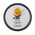 Rifle Camo Chick Hunting Large Wall Clock