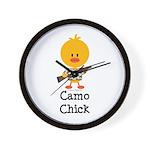 Rifle Camo Chick Hunting Wall Clock