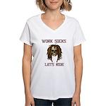 Work Sucks Let's Ride Skull Women's V-Neck T-Shirt