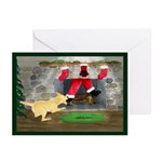Yellow Lab Tugs Santa Christmas Greeting Cards