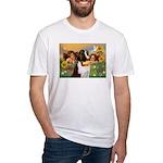 Two Angels & Saint Bernard Fitted T-Shirt