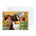 Two Angels & Saint Bernard Greeting Cards (Pk of 1