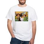 Two Angels & Saint Bernard White T-Shirt