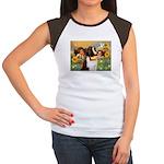 Two Angels & Saint Bernard Women's Cap Sleeve T-Sh