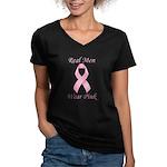 Real men wear pink Breast Cancer Women's V-Neck Da