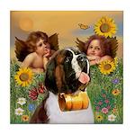 Two Angels & Saint Bernard Tile Coaster