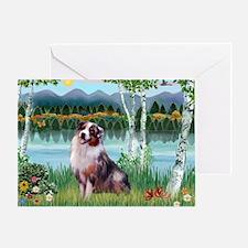 Birches/Aussie Shep 1 Greeting Card
