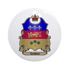 Quebec Shield Ornament (Round)