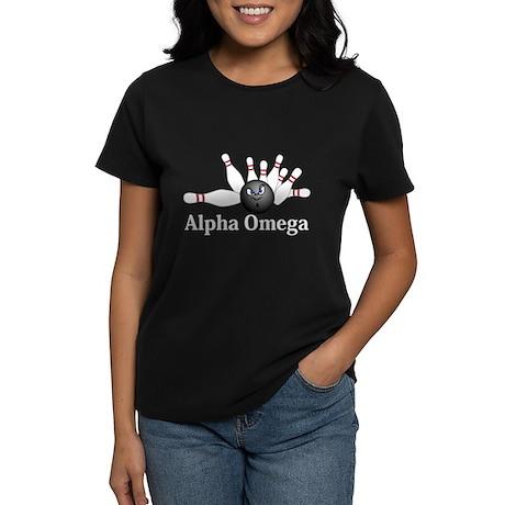 Apha Omega Logo 6 Women's Dark T-Shirt Design Fron