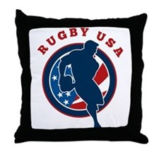 Rugby USA Throw Pillow