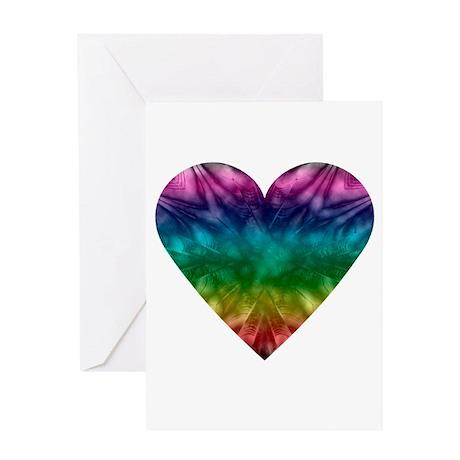 Tie-Dye Rainbow Heart Greeting Card