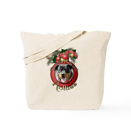 Christmas - Deck the Halls - Rotties Tote Bag