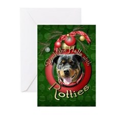 Christmas - Deck the Halls - Rotties Greeting Card