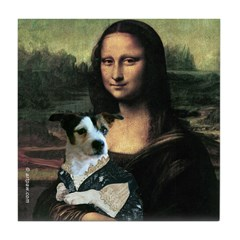 Jack Russell and Mona Lisa Tile Coaster