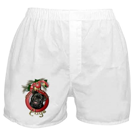 Christmas - Deck the Halls - Pugs Boxer Shorts