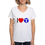 DOT ARTS Custom Monograms Women's V-Neck T-Shirt