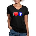 DOT ARTS Custom Monograms Women's V-Neck Dark T-Sh