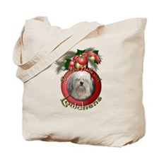Christmas - Deck the Halls - Lowchens Tote Bag