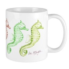 5 green & beige seahorses in a row Mug