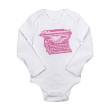 Pink Typewriter Long Sleeve Infant Bodysuit