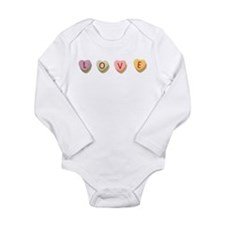 Retro Candy Hearts Love Long Sleeve Infant Bodysui