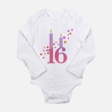 16th Birthday Candles Long Sleeve Infant Bodysuit