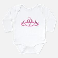 Quinceanera 15 Crown Long Sleeve Infant Bodysuit