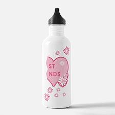 Pink Best Friends Heart Right Water Bottle