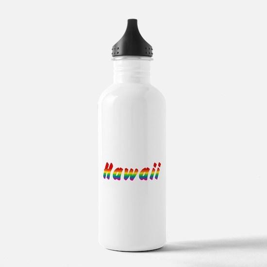 Rainbow Hawaii Text Water Bottle
