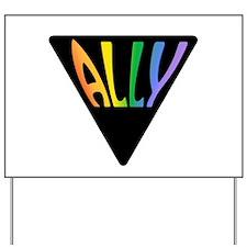 Gay Ally Rainbow Triangle Yard Sign
