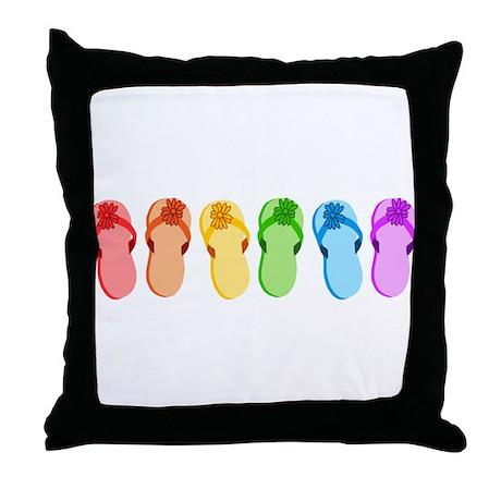 Rainbow Flip-Flops Throw Pillow