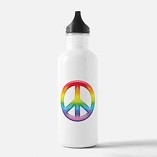 Rainbow Peace Sign Water Bottle
