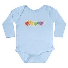 Rainbow Hearts Long Sleeve Infant Bodysuit