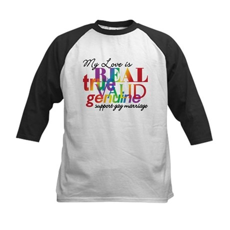 My Love Is Real Gay Marriage Kids Baseball Jersey