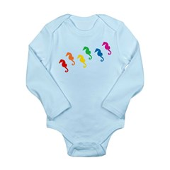Rainbow Seahorses Long Sleeve Infant Bodysuit