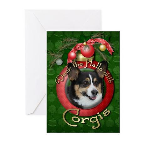 Christmas - Deck the Halls - Corgis Greeting Cards