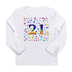 Rainbow Stars 21st Birthday Long Sleeve Infant T-S