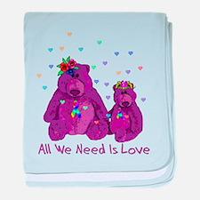 Purple Love Bears Infant Blanket