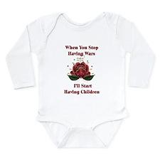 Child-Free Pacifist Long Sleeve Infant Bodysuit