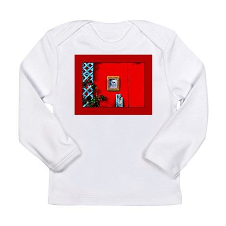 Skull on Red Shed Long Sleeve Infant T-Shirt