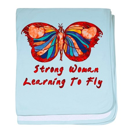 Strong Woman Learning To Fly baby blanket