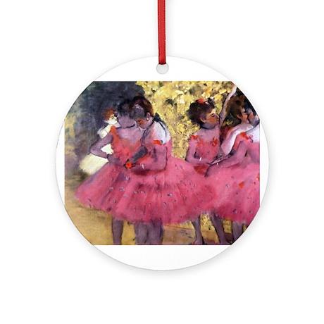 Degas Ballerinas in Red Ornament (Round)