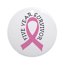 5 Year Survivor Breast Cancer Ornament (Round)