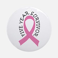 5 Year Survivor Breast Cancer Ornament (Round)