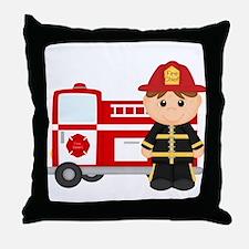 Cute Fire truck Throw Pillow