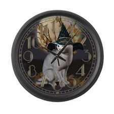 Witches Cat Large Wall Clock