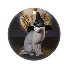 Witches Cat Ornament (Round)