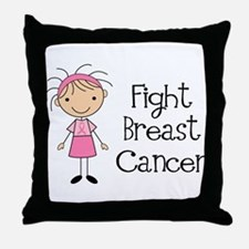 Stick Figure Fight Breast Cancer Throw Pillow